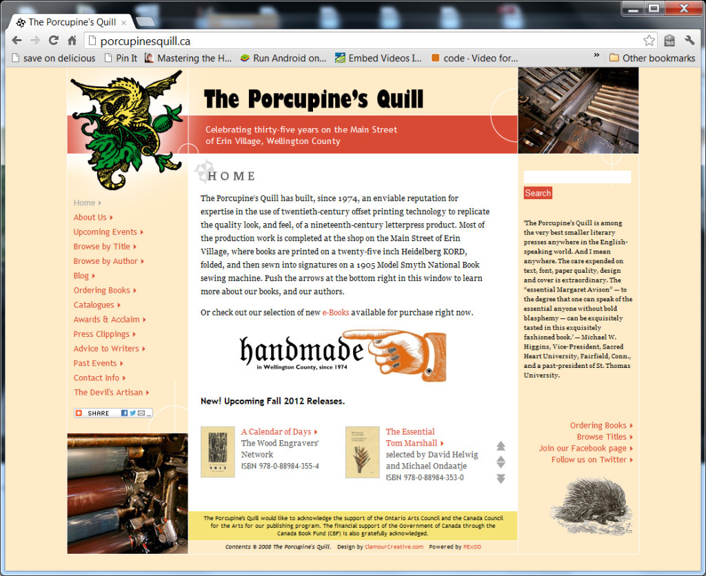 The Porcupine's Quill website screenshot
