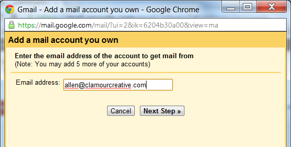 Enter the email address of the account to get mail from