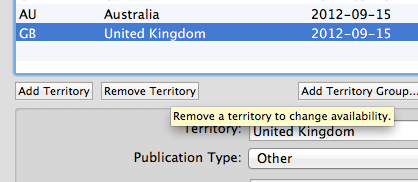 Deleting territory from list