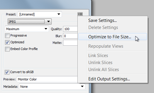 Photoshop: Optimize to File Size