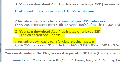 Save Irfanview plugin zip file