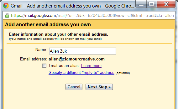 Enter information about your email address