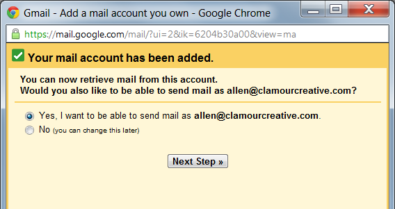 You can now retrieve email from this account