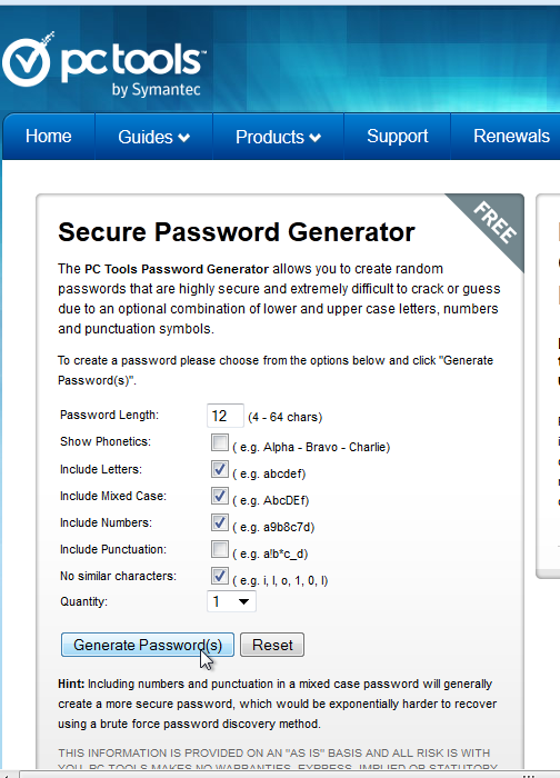 Generate a password