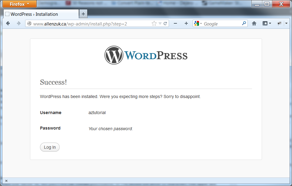 A successful WordPress installation